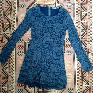 Urban Outfitters Kimchi Blue Lace Blue Romper